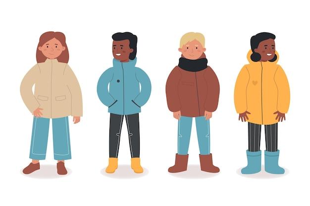 Verzameling van mensen in verschillende herfstkleren