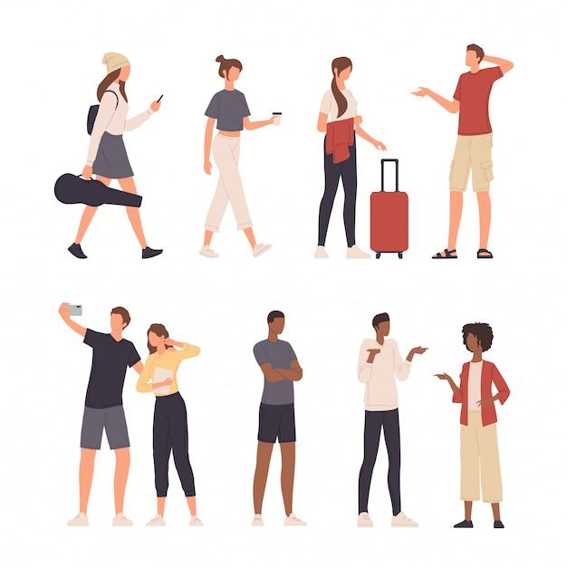 Verzameling van mensen karakter illustratie doen verschillende activiteiten in platte ontwerp