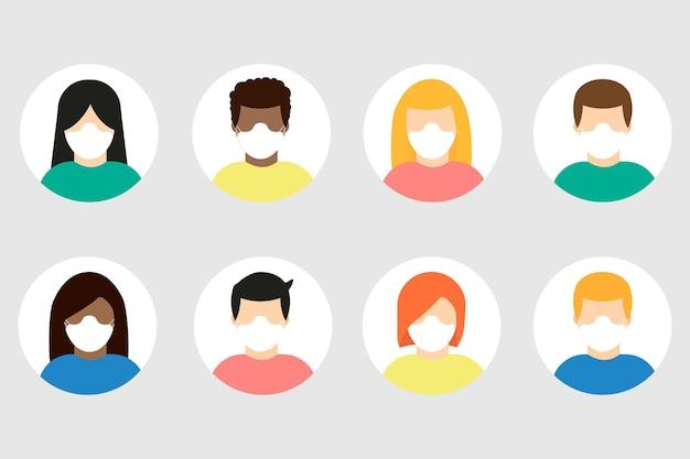 Verzameling van mensen met een beschermend medisch maskerpictogram geïsoleerd. avatars van mannen en vrouwen met beschermende maskers. vector illustratie.