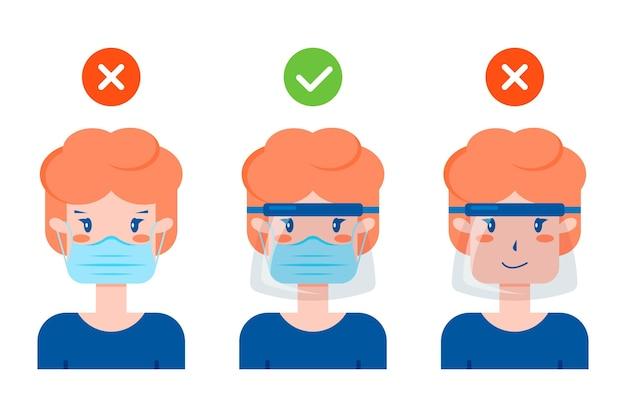 Verzameling van mensen met een gezichtsscherm en masker