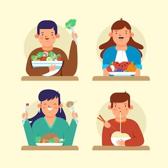 Verzameling van mensen met verschillende voedingsmiddelen
