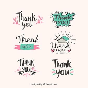 Verzameling van met de hand getekende dank stickers