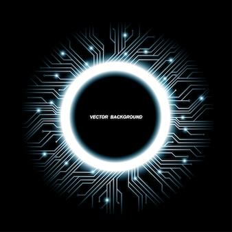 Verzameling van microchip-ontwerpen, cpu. informatiecommunicatietechnologie-elementen met fonkelingen, blauwe lichtgevende printplaten in de vorm van een cirkel, illustratie