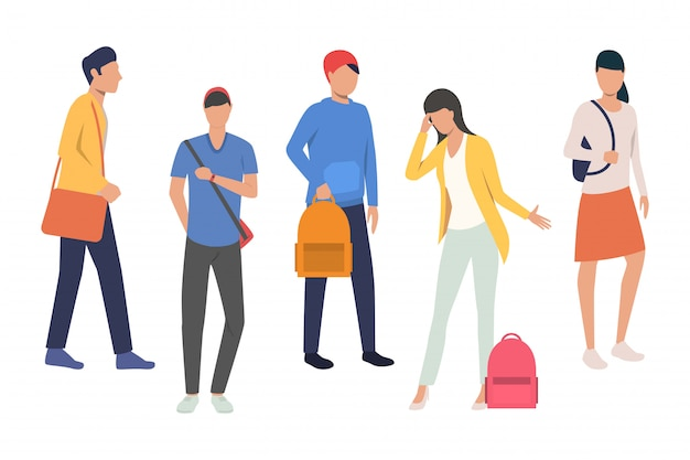 Verzameling van middelbare scholieren