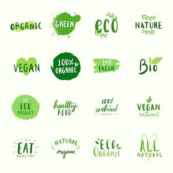 Verzameling van milieuvriendelijke typografie vectoren