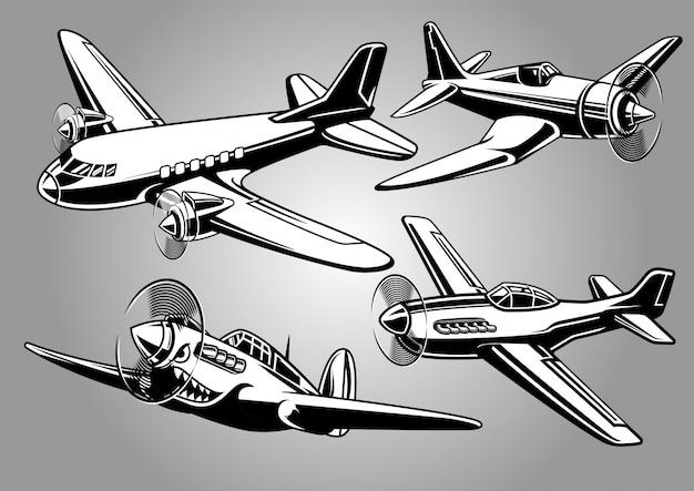 Verzameling van militaire vliegtuigen uit de tweede wereldoorlog