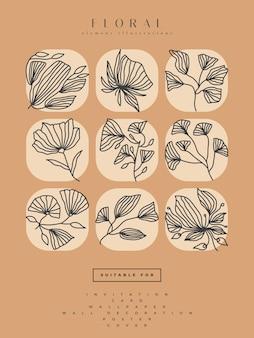 Verzameling van minimalistische bloemillustraties in lijnkunststijl, kan worden gebruikt voor afdrukken, woondecoratie, muurkunstposter, uitnodiging en andere