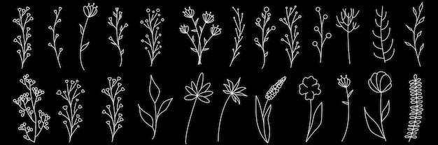 Verzameling van minimalistische eenvoudige bloemenelementen. grafische schets. modieus tattoo-ontwerp. bloemen, gras en bladeren. botanische natuurlijke elementen. vector illustratie. overzicht, lijn, doodle stijl.