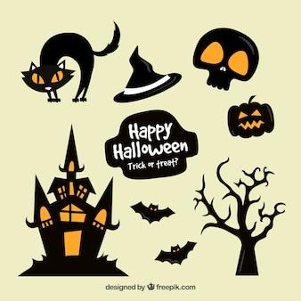 Verzameling van minimalistische halloween stickers in oranje en zwart