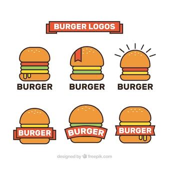 Verzameling van minimalistische hamburgerlogo's in vlakke vormgeving