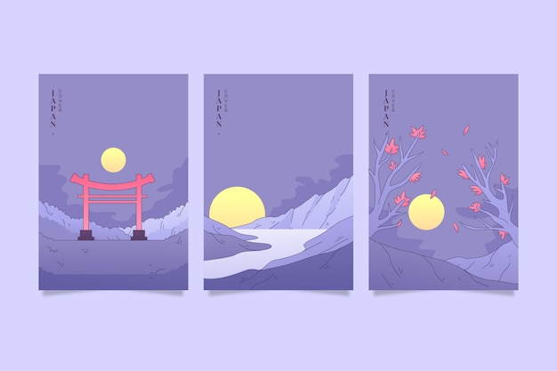 Verzameling van minimalistische japanse covers