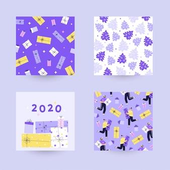 Verzameling van moderne achtergronden voor kerstmis en gelukkig nieuwjaar 2020. geschenkdozen, sparren, sneeuw. vlakke kleurrijke illustratie.