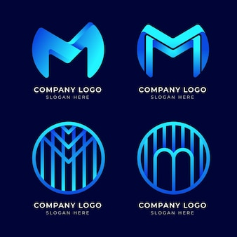 Verzameling van moderne blauwe m-logo's