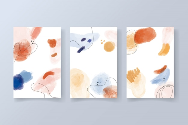 Verzameling van moderne kaarten met aquarel vormen