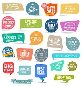 Verzameling van moderne kleurrijke stickers en tags