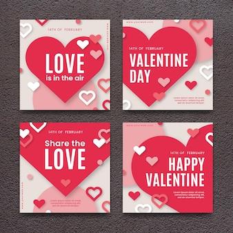 Verzameling van moderne valentijnsdag berichten sjabloon