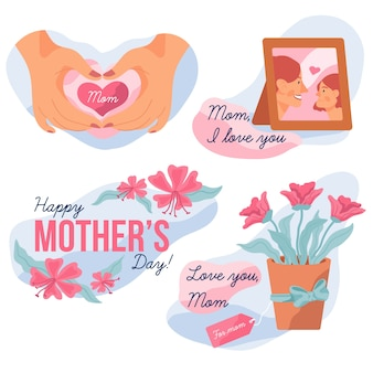 Verzameling van moederdag label