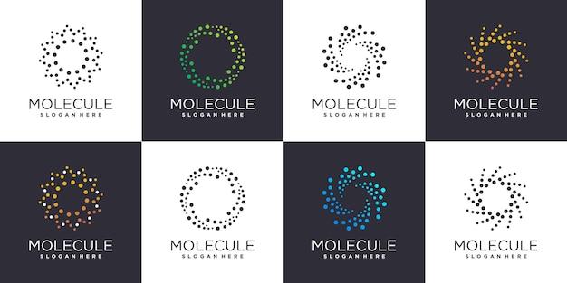 Verzameling van molecuullogo's met creatief concept premium vector