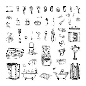 Verzameling van monochrome illustraties van een badkamer in schetsstijl