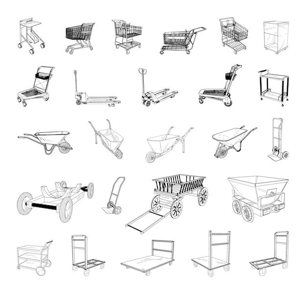 Verzameling van monochrome illustraties van karren in schetsstijl