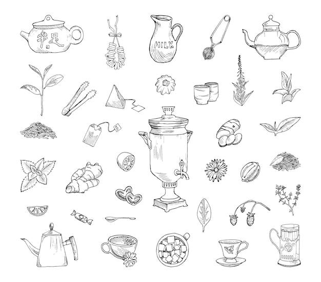 Verzameling van monochrome illustraties van theedrinken in schetsstijl