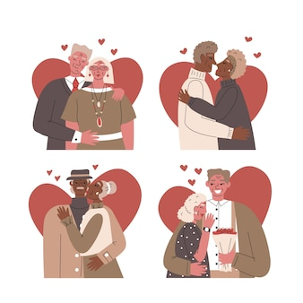 Verzameling van mooie geïllustreerde seniorenparen