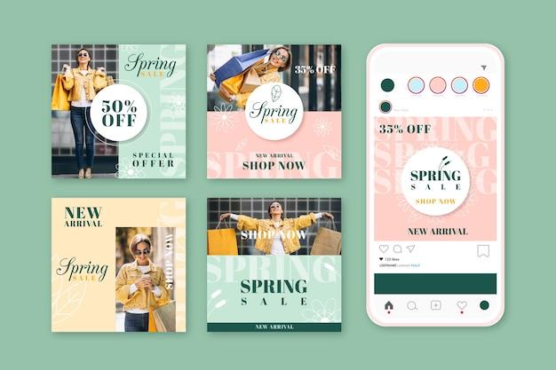 Verzameling van mooie lente verkoop instagram-berichten
