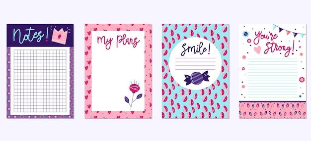 Verzameling van mooie plakboeknotities en kaarten