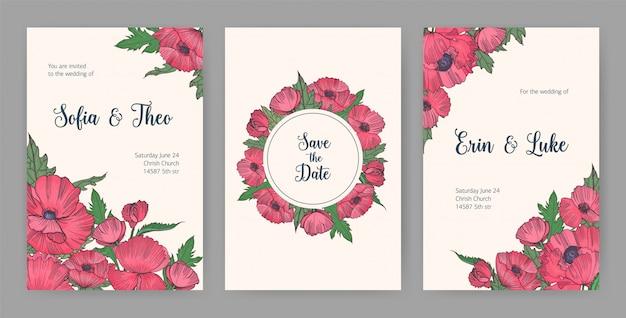 Verzameling van mooie sjablonen voor save the date-kaart of bruiloft uitnodiging met roze bloeiende klaprozen