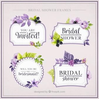 Verzameling van mooie vrijgezellenfeest frames met paarse bloemen