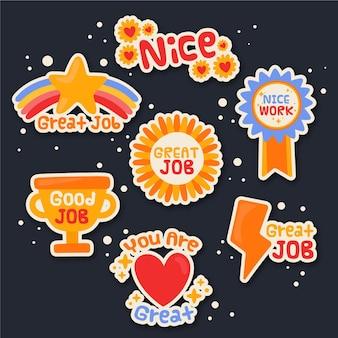 Verzameling van motiverende stickers voor geweldige banen
