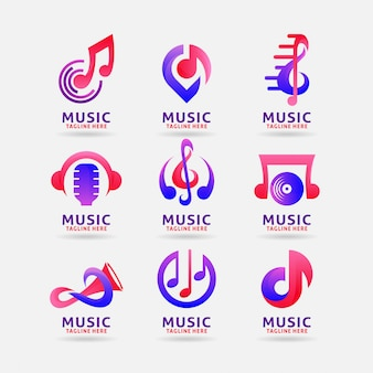 Verzameling van muziek logo