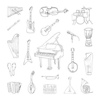 Verzameling van muziekinstrumenten in schetsstijl