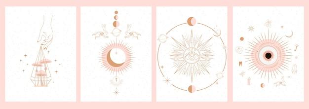 Verzameling van mystieke en mysterieuze illustraties in handgetekende stijl. schedels, dieren, ruimte