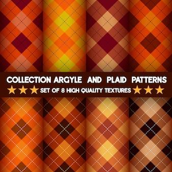 Verzameling van naadloze argyle en geruite patronen op halloween achtergrond.