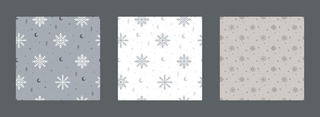 Verzameling van naadloze patronen kerstmis en nieuwjaar met winterelementen