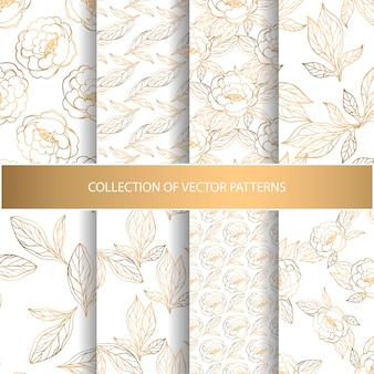 Verzameling van naadloze patronen met gouden bloemenelementen