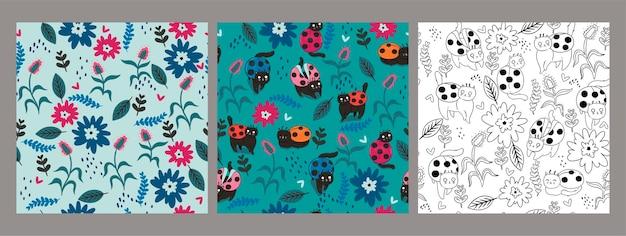 Verzameling van naadloze patronen met kat-kevers en bloemen.