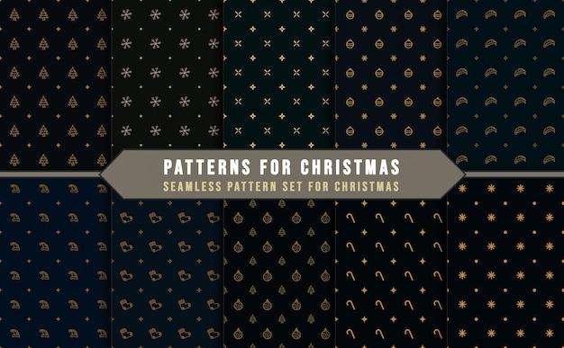 Verzameling van naadloze patronen voor kerstmis