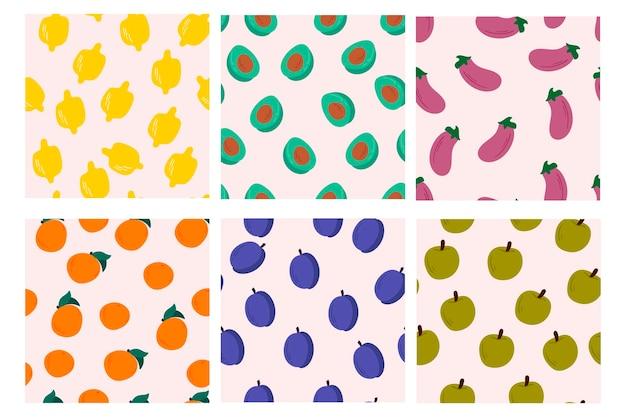 Verzameling van naadloze patroonontwerpen met fruit en groenten. vector illustratie