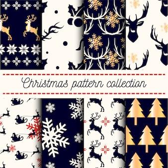 Verzameling van naadloze vrolijk kerstfeest en gelukkig nieuwjaar patronen