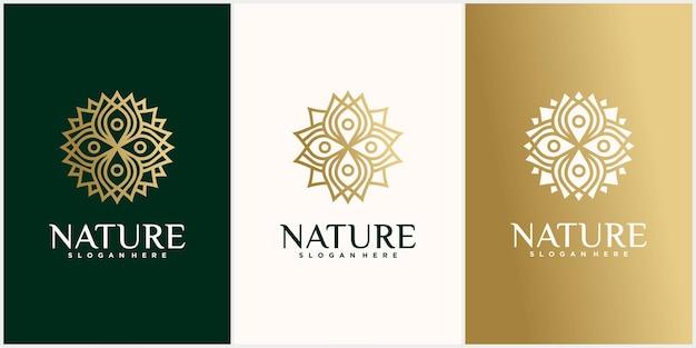 Verzameling van natuur bloem logo ontwerpen gouden bloemen logo overzicht