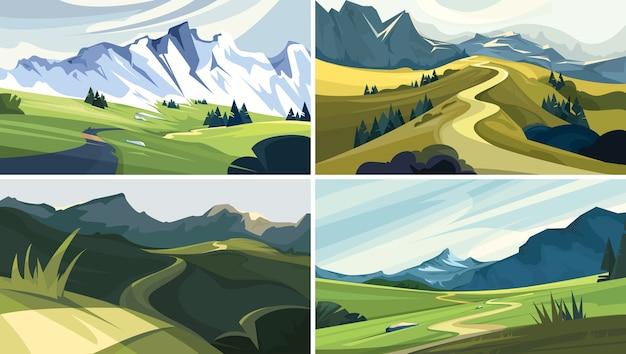 Verzameling van natuurlandschappen. mooie bergweggetjes.