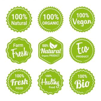 Verzameling van natuurlijke biologische productlabels