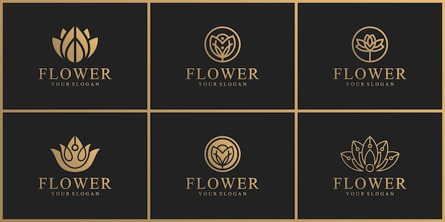 Verzameling van natuurlijke bloemlogo's