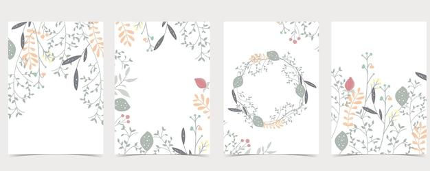 Verzameling van natuurlijke set met blad, bloem.