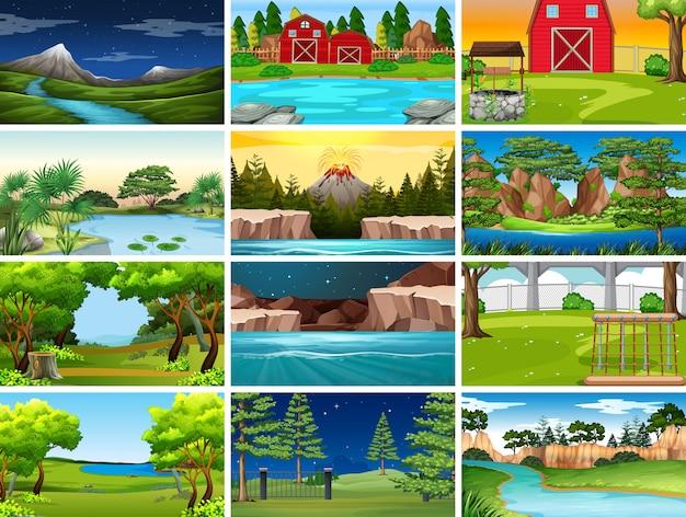 Verzameling van natuurtaferelen of achtergrond voor dag, nacht, boerderij en waterwegen