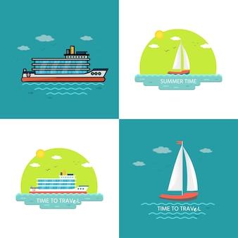 Verzameling van nautische voertuigen: zeilboot, schip, vaartuig, luxe jacht, speedboot. vector set pictogrammen geïsoleerd op blauwe achtergrond.