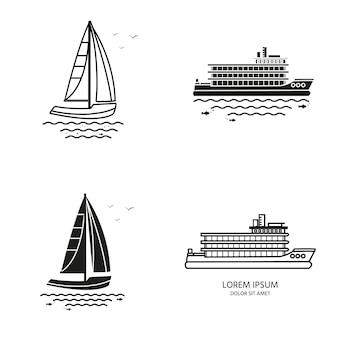 Verzameling van nautische voertuigen: zeilboot, schip, vaartuig, luxe jacht, speedboot. vector set pictogrammen geïsoleerd op een witte achtergrond.