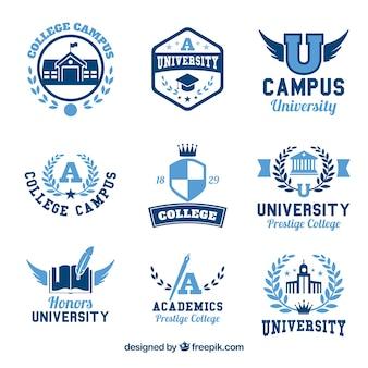 Verzameling van negen logo's voor college